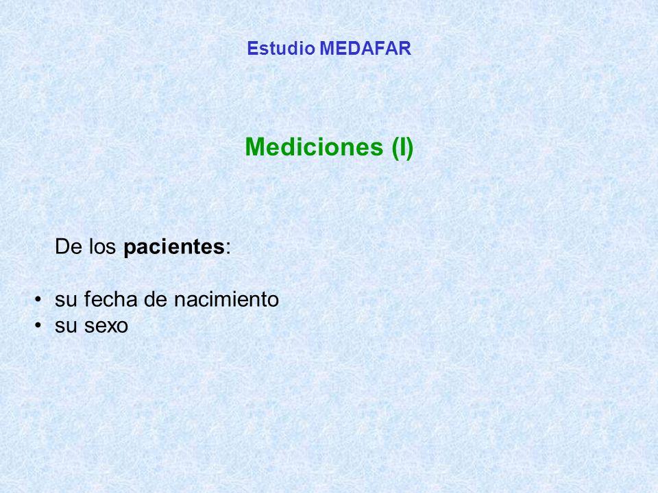 De los pacientes: su fecha de nacimiento su sexo Estudio MEDAFAR Mediciones (I)