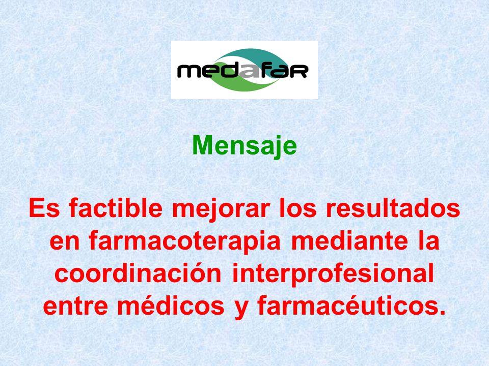 Es factible mejorar los resultados en farmacoterapia mediante la coordinación interprofesional entre médicos y farmacéuticos.