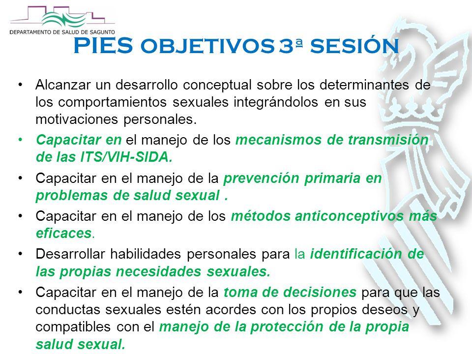 PIES OBJETIVOS 3ª SESIÓN Alcanzar un desarrollo conceptual sobre los determinantes de los comportamientos sexuales integrándolos en sus motivaciones personales.