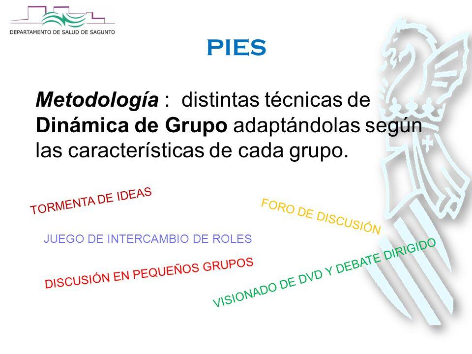 PIES Metodología : distintas técnicas de Dinámica de Grupo adaptándolas según las características de cada grupo.