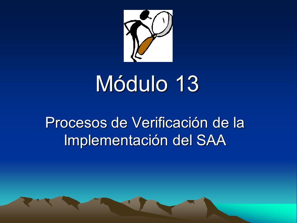 Módulo 13 Procesos de Verificación de la Implementación del SAA