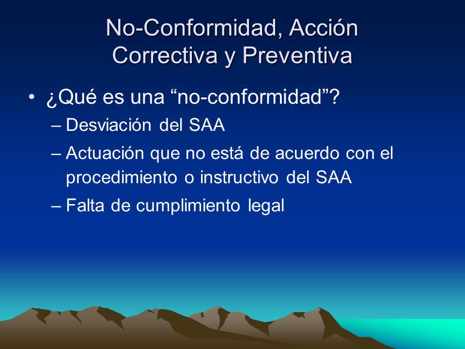 No-Conformidad, Acción Correctiva y Preventiva ¿Qué es una no-conformidad .