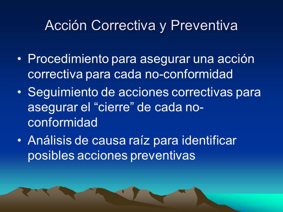 Acción Correctiva y Preventiva Procedimiento para asegurar una acción correctiva para cada no-conformidad Seguimiento de acciones correctivas para asegurar el cierre de cada no- conformidad Análisis de causa raíz para identificar posibles acciones preventivas