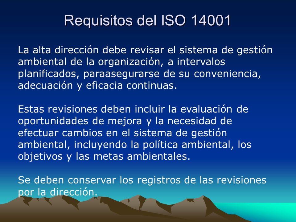Requisitos del ISO 14001 La alta dirección debe revisar el sistema de gestión ambiental de la organización, a intervalos planificados, paraasegurarse de su conveniencia, adecuación y eficacia continuas.