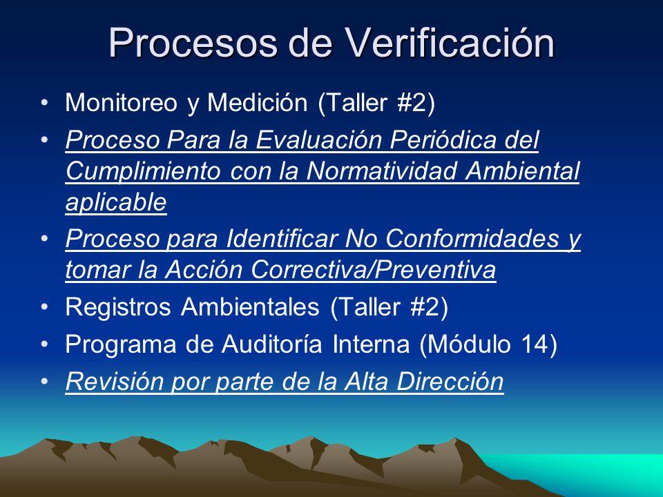 Procesos de Verificación Monitoreo y Medición (Taller #2) Proceso Para la Evaluación Periódica del Cumplimiento con la Normatividad Ambiental aplicable Proceso para Identificar No Conformidades y tomar la Acción Correctiva/Preventiva Registros Ambientales (Taller #2) Programa de Auditoría Interna (Módulo 14) Revisión por parte de la Alta Dirección
