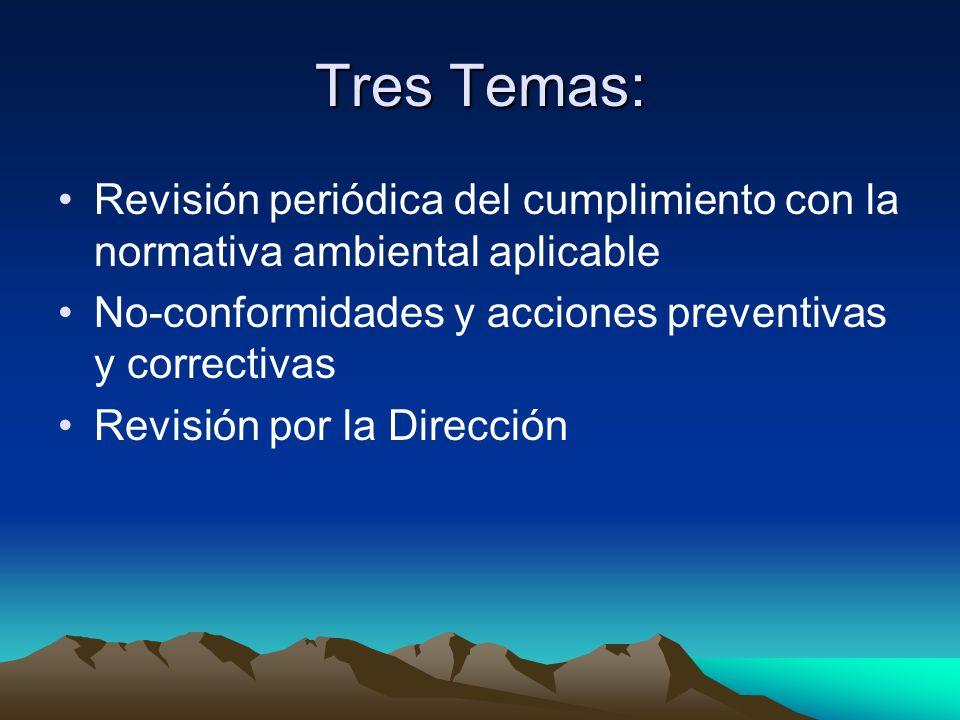 Tres Temas: Revisión periódica del cumplimiento con la normativa ambiental aplicable No-conformidades y acciones preventivas y correctivas Revisión por la Dirección