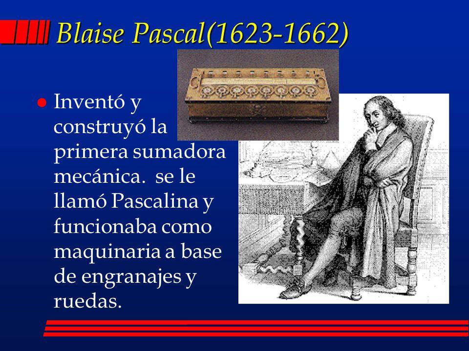 l Trazó las ideas para una sumadora mecánica Leonardo Da Vinci(1452-1519)