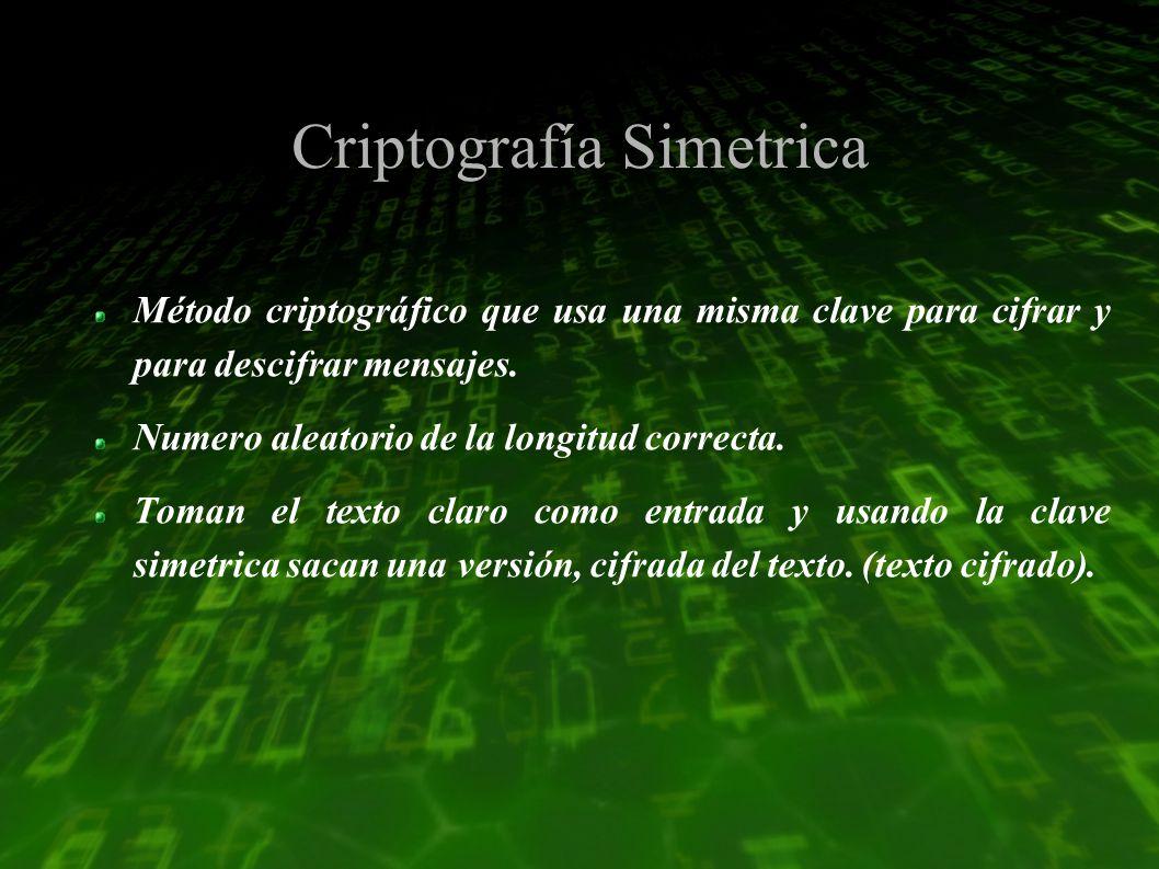 Criptografía Simetrica Método criptográfico que usa una misma clave para cifrar y para descifrar mensajes.