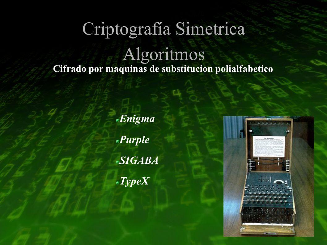 Criptografía Simetrica Algoritmos Enigma Purple SIGABA TypeX Cifrado por maquinas de substitucion polialfabetico