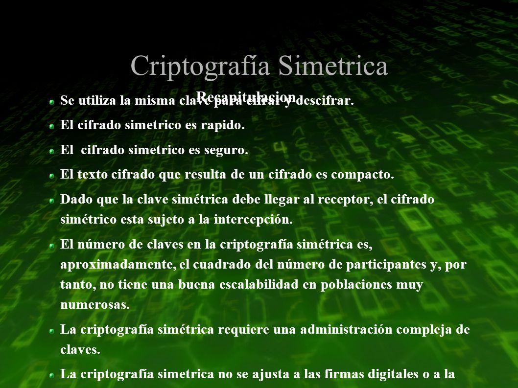 Criptografía Simetrica Se utiliza la misma clave para cifrar y descifrar.