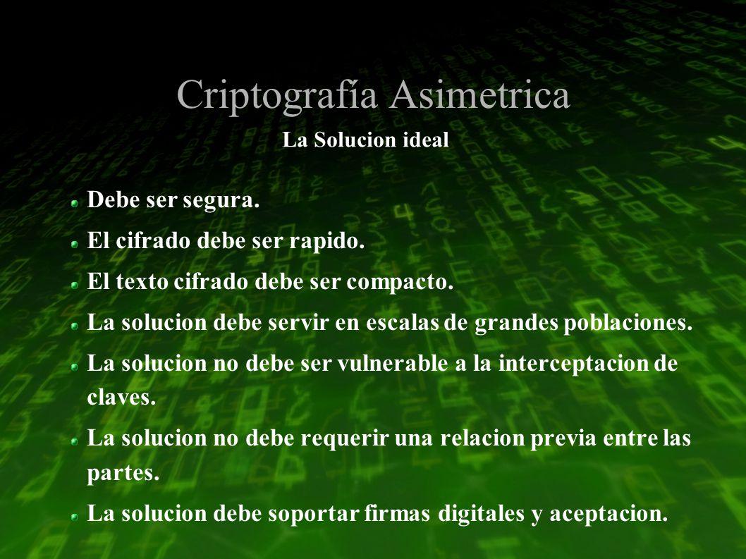 Criptografía Asimetrica La Solucion ideal Debe ser segura.
