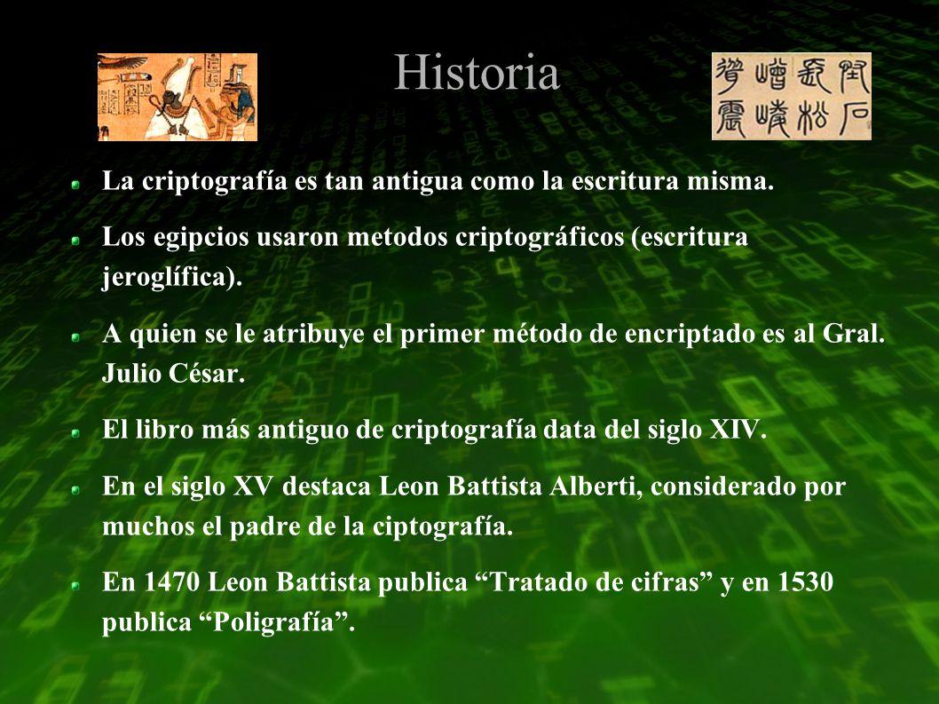 Historia La criptografía es tan antigua como la escritura misma.