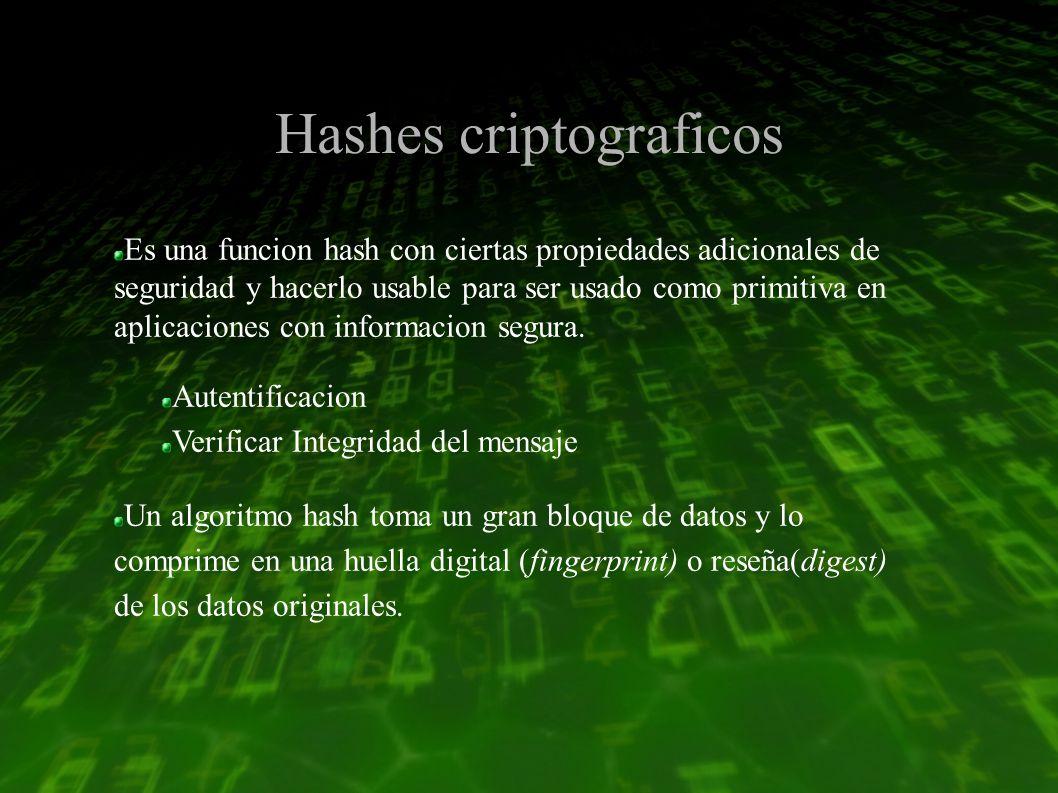 Hashes criptograficos Es una funcion hash con ciertas propiedades adicionales de seguridad y hacerlo usable para ser usado como primitiva en aplicaciones con informacion segura.