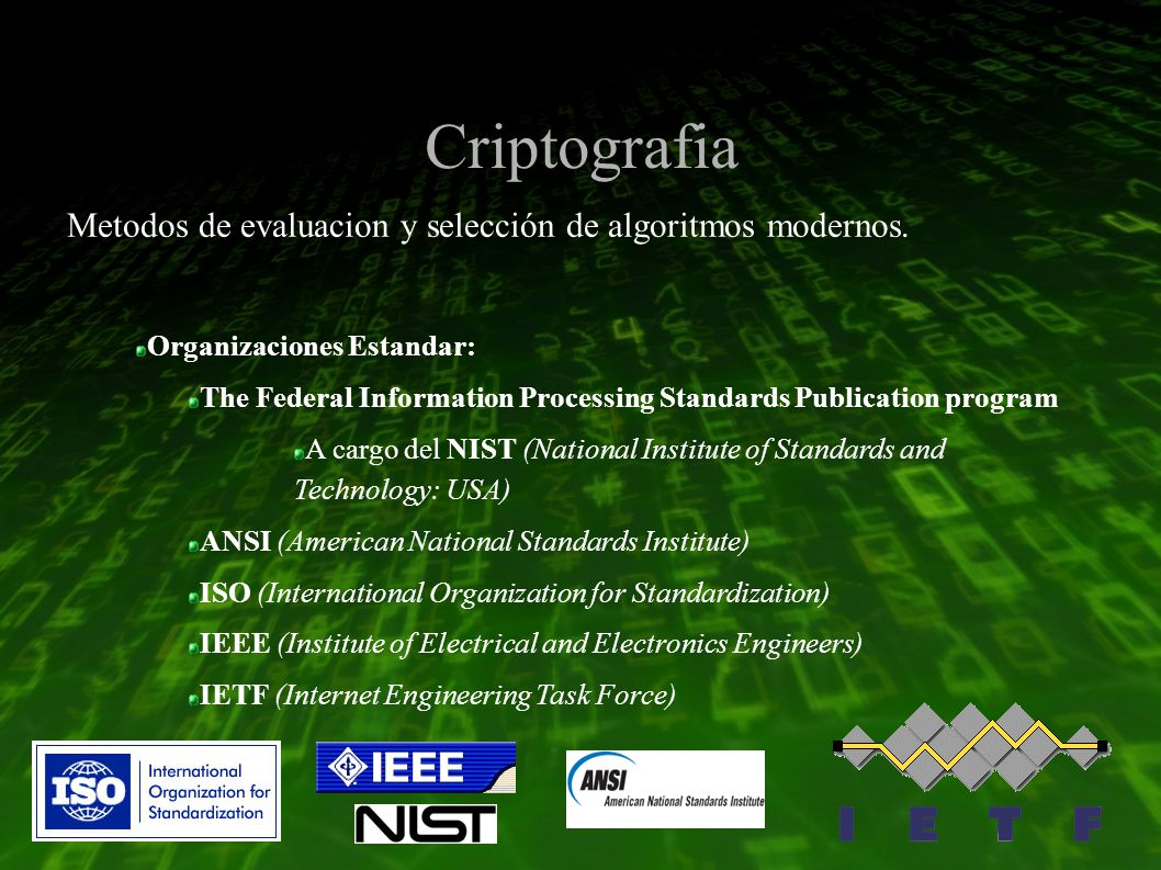 Criptografia Organizaciones Estandar: The Federal Information Processing Standards Publication program A cargo del NIST (National Institute of Standards and Technology: USA) ANSI (American National Standards Institute) ISO (International Organization for Standardization) IEEE (Institute of Electrical and Electronics Engineers) IETF (Internet Engineering Task Force) Metodos de evaluacion y selección de algoritmos modernos.
