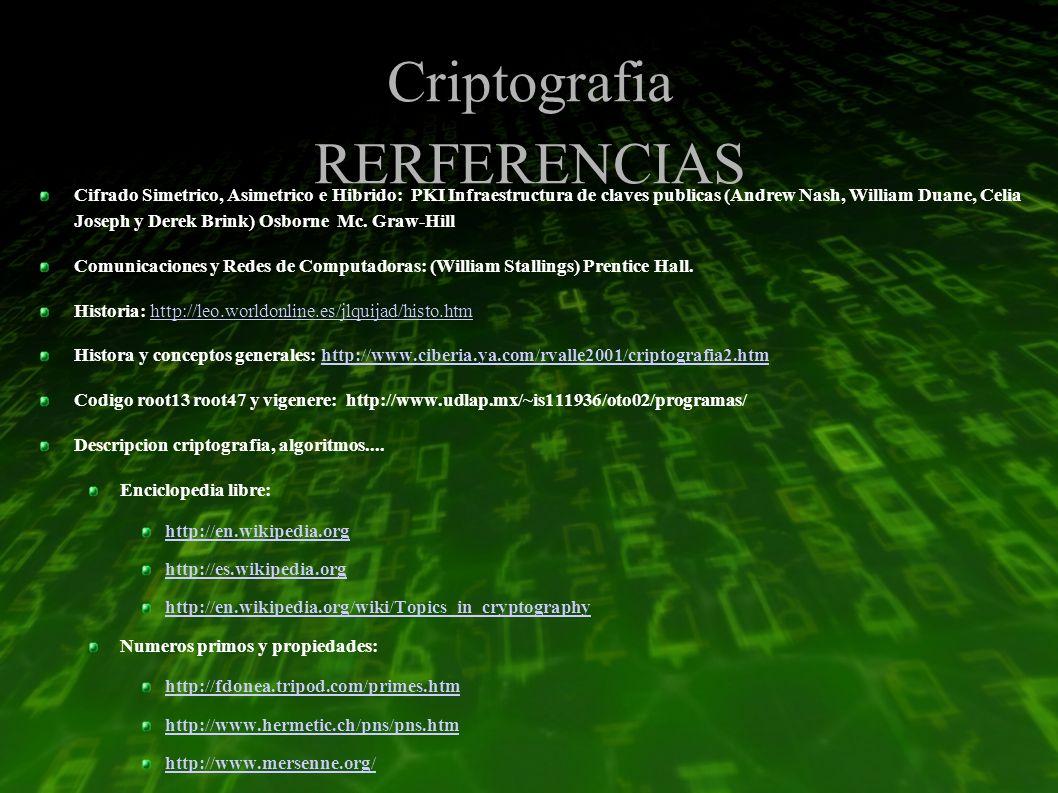 Criptografia RERFERENCIAS Cifrado Simetrico, Asimetrico e Hibrido: PKI Infraestructura de claves publicas (Andrew Nash, William Duane, Celia Joseph y Derek Brink) Osborne Mc.