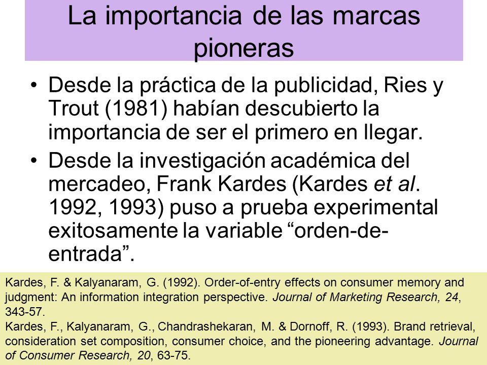 La importancia de las marcas pioneras Desde la práctica de la publicidad, Ries y Trout (1981) habían descubierto la importancia de ser el primero en llegar.