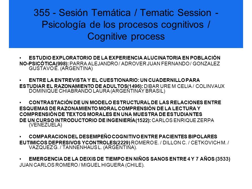 355 - Sesión Temática / Tematic Session - Psicología de los procesos cognitivos / Cognitive process ESTUDIO EXPLORATORIO DE LA EXPERIENCIA ALUCINATORIA EN POBLACIÓN NO-PSICÓTICA(998): PARRA ALEJANDRO / ADROVER JUAN FERNANDO / GONZALEZ GUSTAVO E.