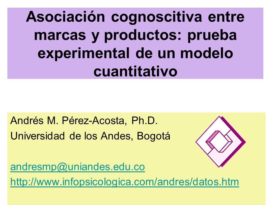 Asociación cognoscitiva entre marcas y productos: prueba experimental de un modelo cuantitativo Andrés M.