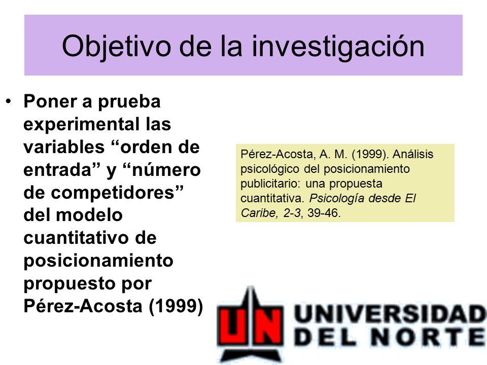 Objetivo de la investigación Poner a prueba experimental las variables orden de entrada y número de competidores del modelo cuantitativo de posicionamiento propuesto por Pérez-Acosta (1999) Pérez-Acosta, A.