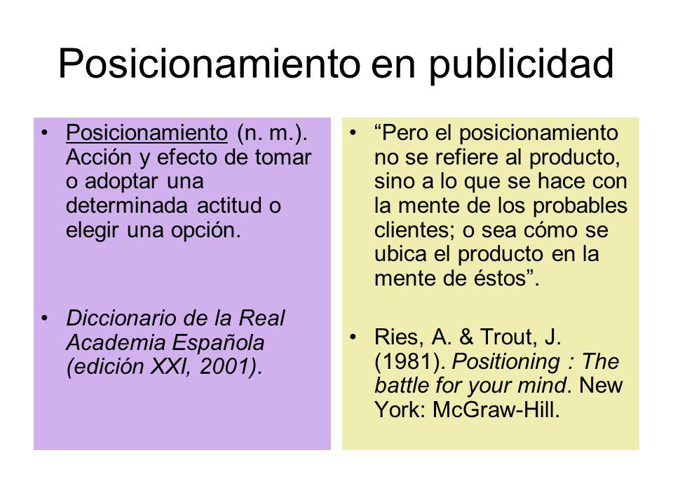 Posicionamiento en publicidad Posicionamiento (n. m.).
