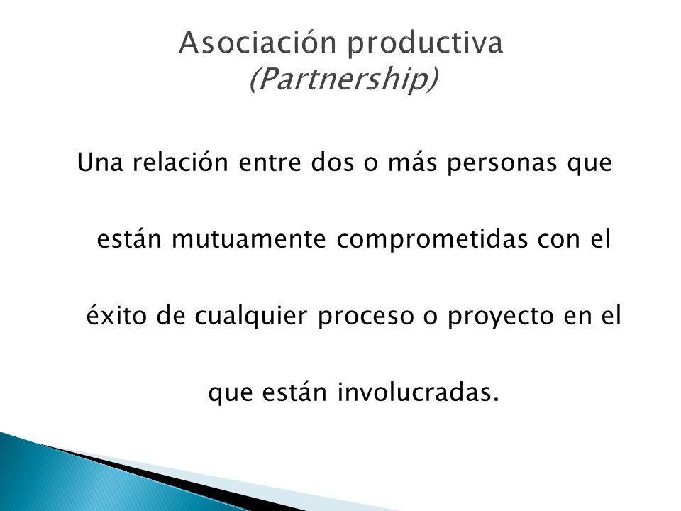 Una relación entre dos o más personas que están mutuamente comprometidas con el éxito de cualquier proceso o proyecto en el que están involucradas.