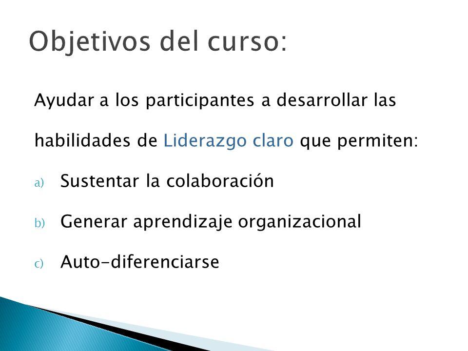 Ayudar a los participantes a desarrollar las habilidades de Liderazgo claro que permiten: a) Sustentar la colaboración b) Generar aprendizaje organizacional c) Auto-diferenciarse