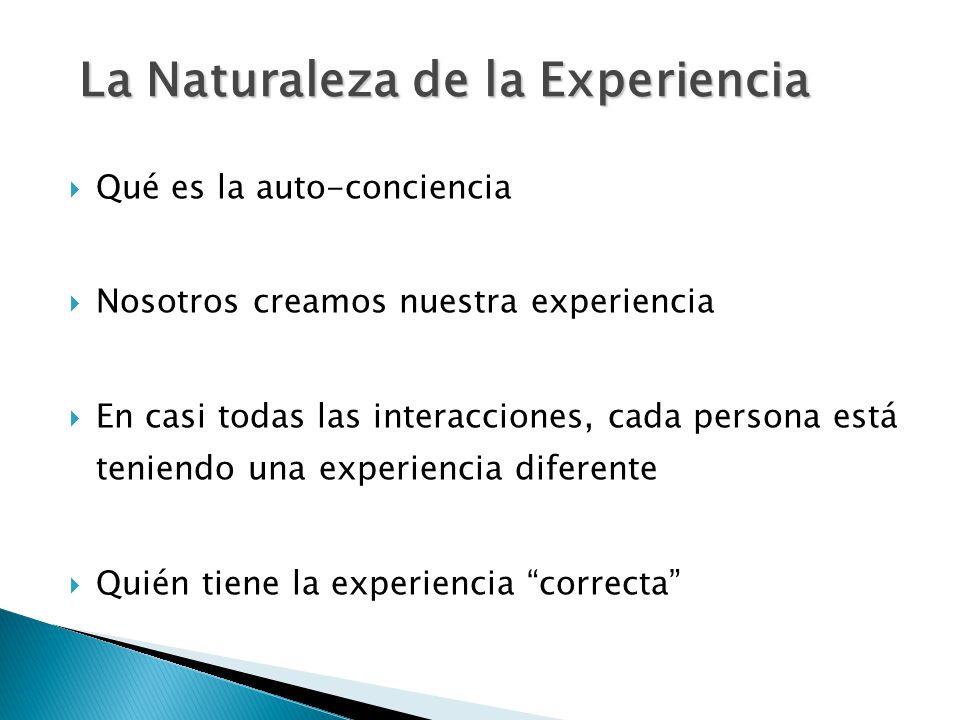  Qué es la auto-conciencia  Nosotros creamos nuestra experiencia  En casi todas las interacciones, cada persona está teniendo una experiencia diferente  Quién tiene la experiencia correcta La Naturaleza de la Experiencia La Naturaleza de la Experiencia