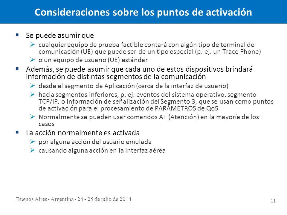 Buenos Aires - Argentina - 24 - 25 de julio de 2014 11 Consideraciones sobre los puntos de activación  Se puede asumir que  cualquier equipo de prueba factible contará con algún tipo de terminal de comunicación (UE) que puede ser de un tipo especial (p.