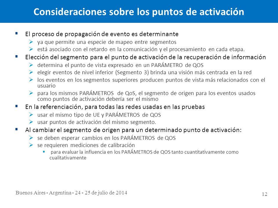 Buenos Aires - Argentina - 24 - 25 de julio de 2014 12 Consideraciones sobre los puntos de activación  El proceso de propagación de evento es determinante  ya que permite una especie de mapeo entre segmentos  está asociado con el retardo en la comunicación y el procesamiento en cada etapa.