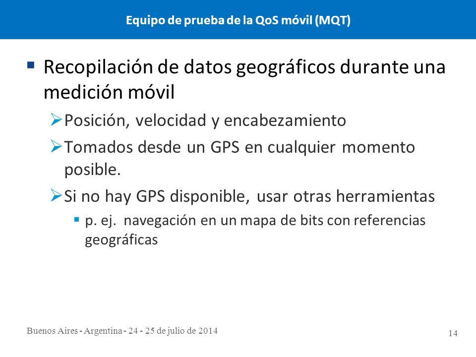 Buenos Aires - Argentina - 24 - 25 de julio de 2014 14 Equipo de prueba de la QoS móvil (MQT)  Recopilación de datos geográficos durante una medición móvil  Posición, velocidad y encabezamiento  Tomados desde un GPS en cualquier momento posible.