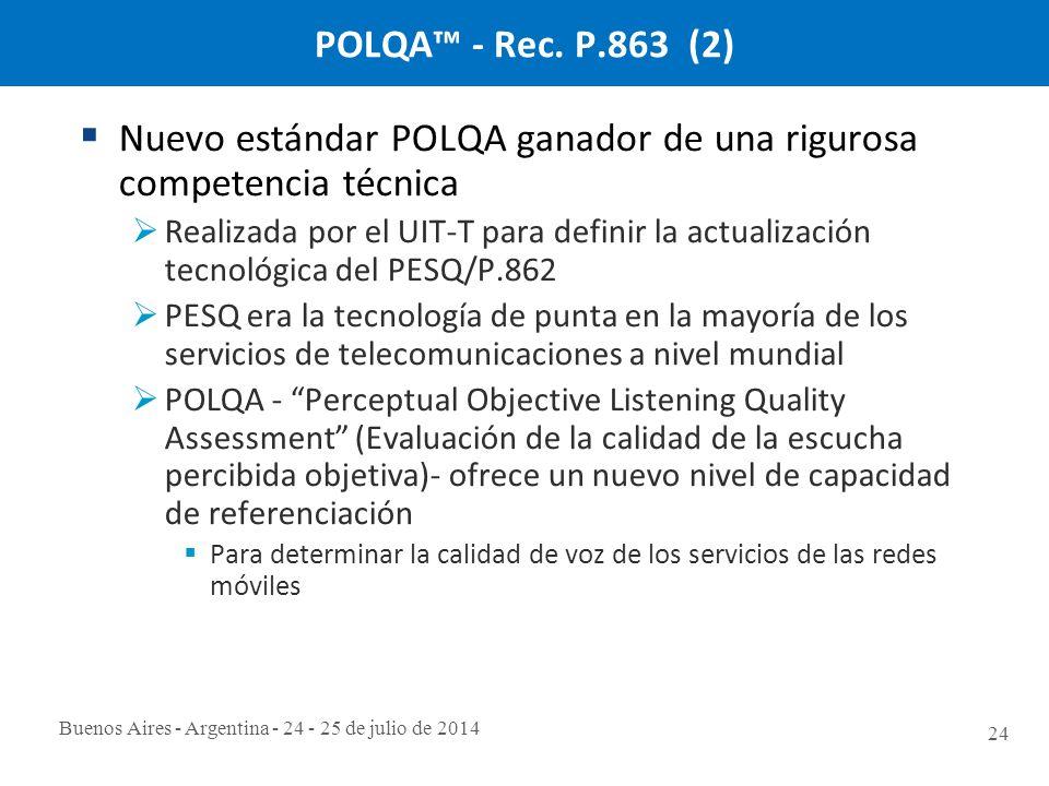 Buenos Aires - Argentina - 24 - 25 de julio de 2014 24 POLQA™ - Rec.