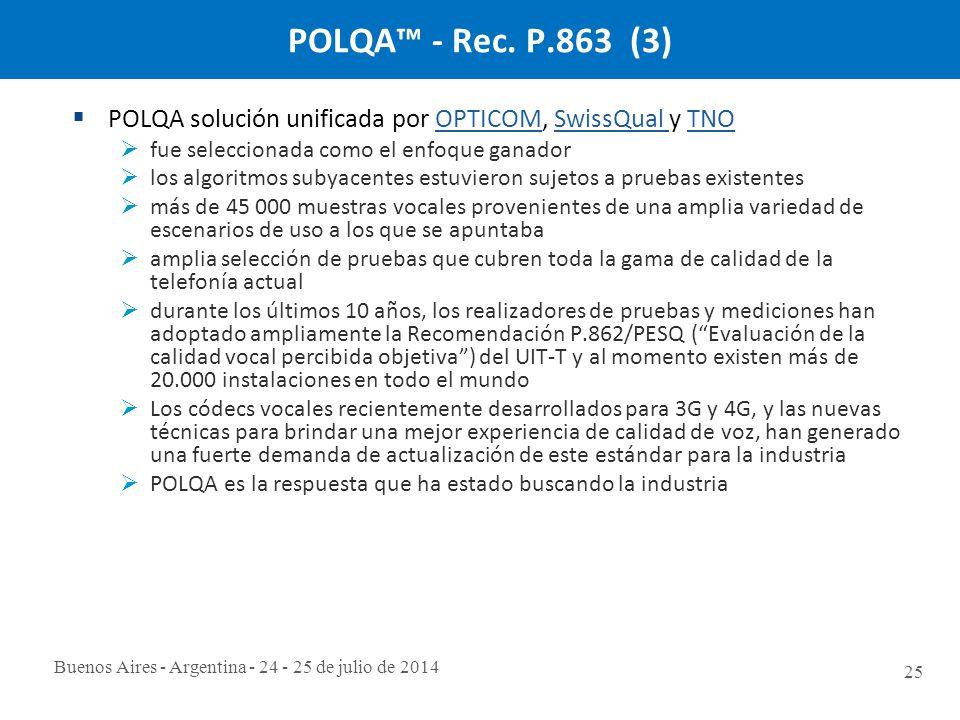Buenos Aires - Argentina - 24 - 25 de julio de 2014 25 POLQA™ - Rec.