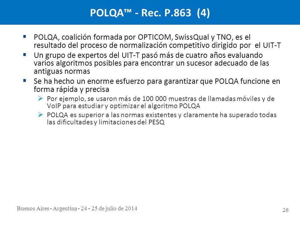 Buenos Aires - Argentina - 24 - 25 de julio de 2014 26 POLQA™ - Rec.