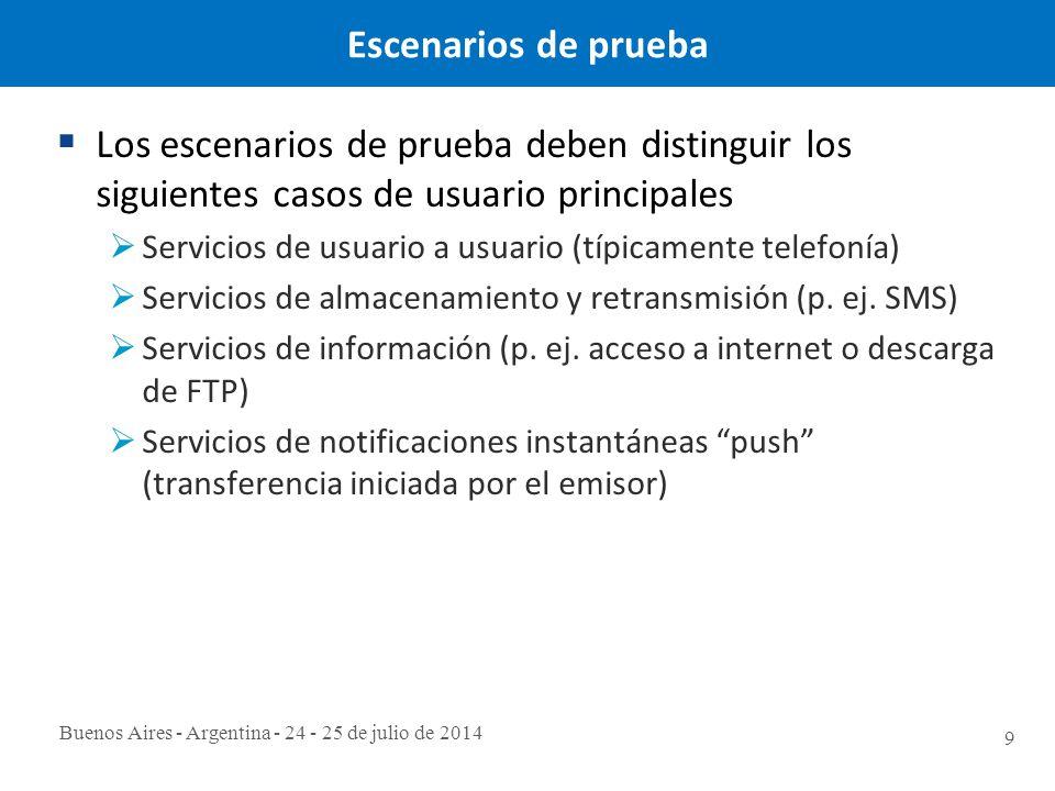 Buenos Aires - Argentina - 24 - 25 de julio de 2014 9 Escenarios de prueba  Los escenarios de prueba deben distinguir los siguientes casos de usuario principales  Servicios de usuario a usuario (típicamente telefonía)  Servicios de almacenamiento y retransmisión (p.