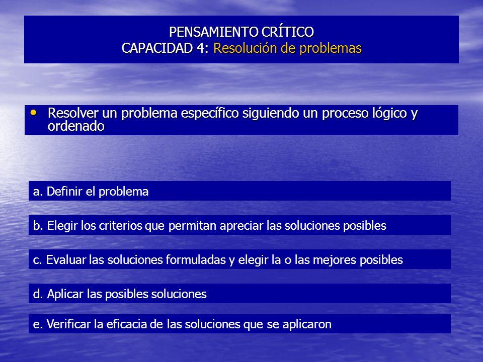 PENSAMIENTO CRÍTICO CAPACIDAD 4: Resolución de problemas Resolver un problema específico siguiendo un proceso lógico y ordenado Resolver un problema específico siguiendo un proceso lógico y ordenado a.