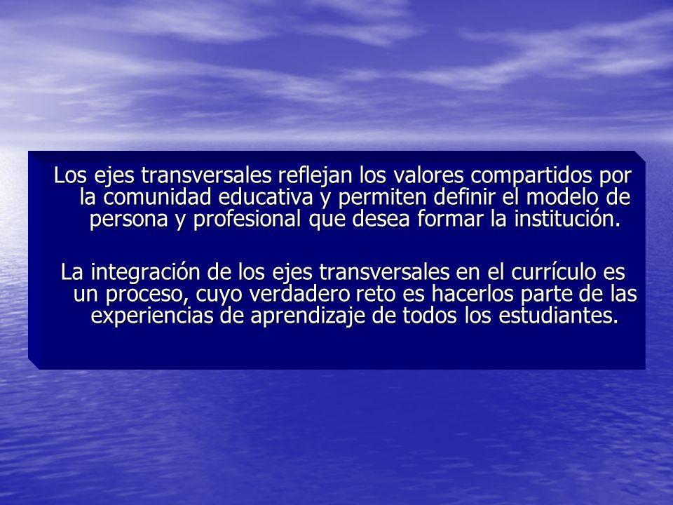 Los ejes transversales reflejan los valores compartidos por la comunidad educativa y permiten definir el modelo de persona y profesional que desea formar la institución.