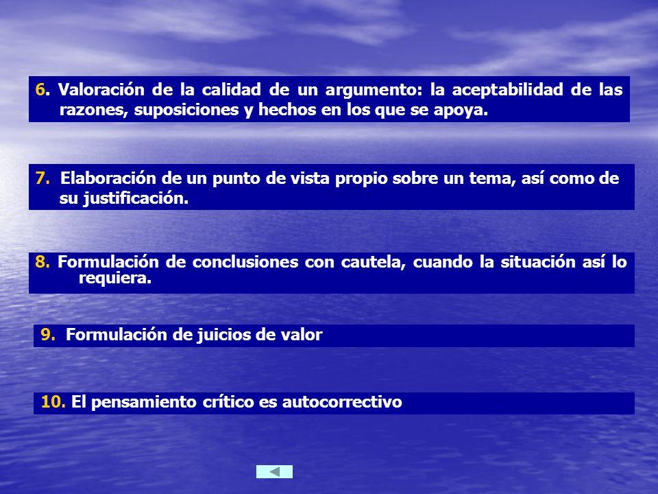 8. Formulación de conclusiones con cautela, cuando la situación así lo requiera.