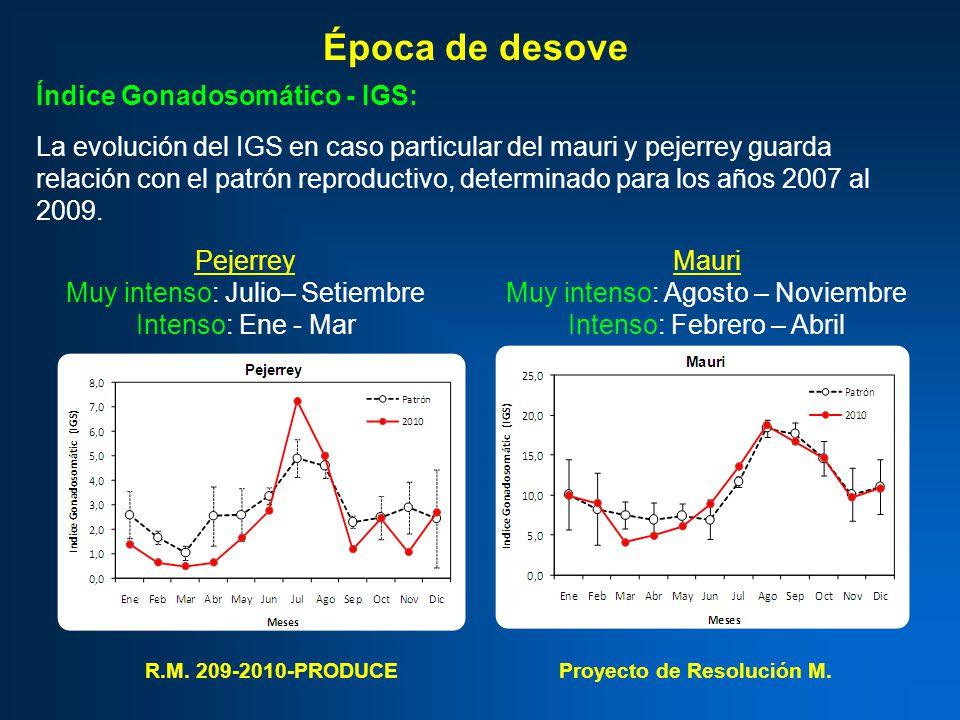 Época de desove Índice Gonadosomático - IGS: La evolución del IGS en caso particular del mauri y pejerrey guarda relación con el patrón reproductivo, determinado para los años 2007 al 2009.