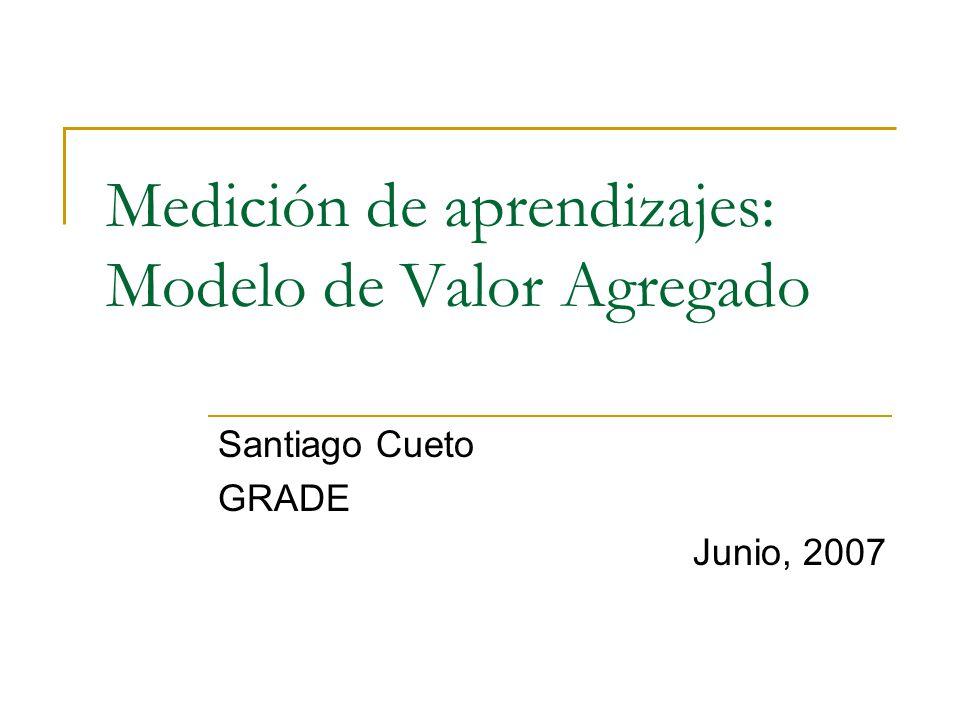 Medición de aprendizajes: Modelo de Valor Agregado Santiago Cueto GRADE Junio, 2007