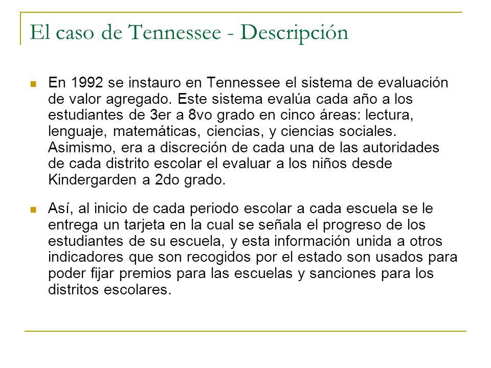 El caso de Tennessee - Descripción En 1992 se instauro en Tennessee el sistema de evaluación de valor agregado.