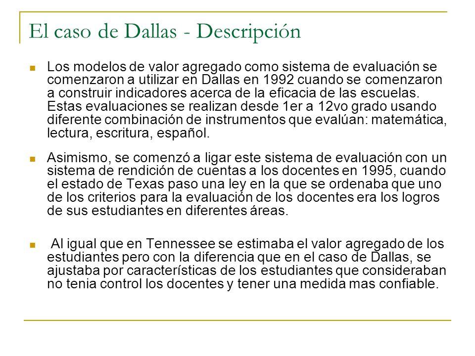 El caso de Dallas - Descripción Los modelos de valor agregado como sistema de evaluación se comenzaron a utilizar en Dallas en 1992 cuando se comenzaron a construir indicadores acerca de la eficacia de las escuelas.