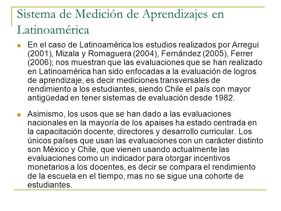 Sistema de Medición de Aprendizajes en Latinoamérica En el caso de Latinoamérica los estudios realizados por Arregui (2001), Mizala y Romaguera (2004), Fernández (2005), Ferrer (2006); nos muestran que las evaluaciones que se han realizado en Latinoamérica han sido enfocadas a la evaluación de logros de aprendizaje, es decir mediciones transversales de rendimiento a los estudiantes, siendo Chile el país con mayor antigüedad en tener sistemas de evaluación desde 1982.