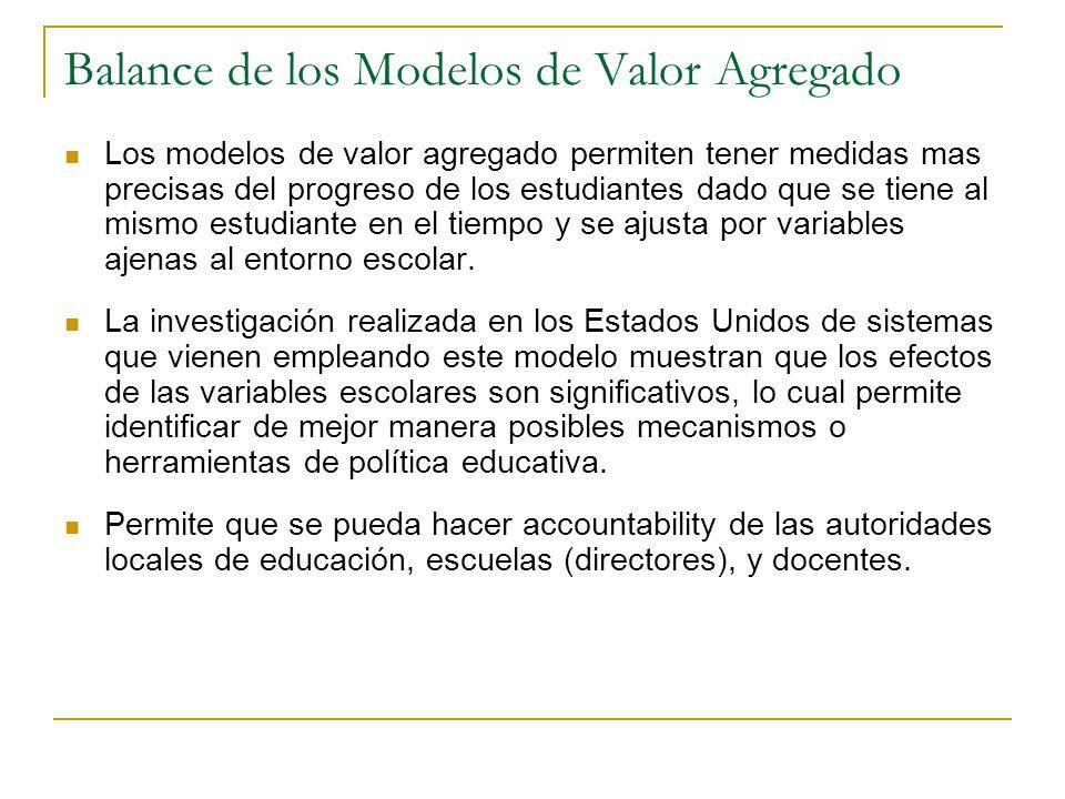 Balance de los Modelos de Valor Agregado Los modelos de valor agregado permiten tener medidas mas precisas del progreso de los estudiantes dado que se tiene al mismo estudiante en el tiempo y se ajusta por variables ajenas al entorno escolar.