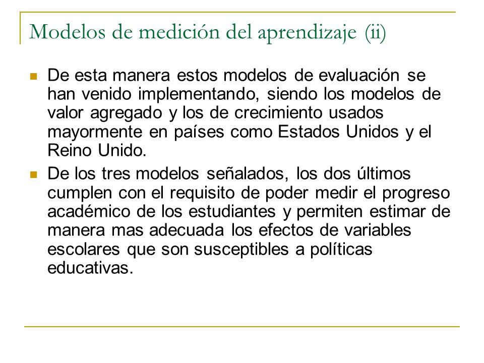 Modelos de medición del aprendizaje (ii) De esta manera estos modelos de evaluación se han venido implementando, siendo los modelos de valor agregado y los de crecimiento usados mayormente en países como Estados Unidos y el Reino Unido.
