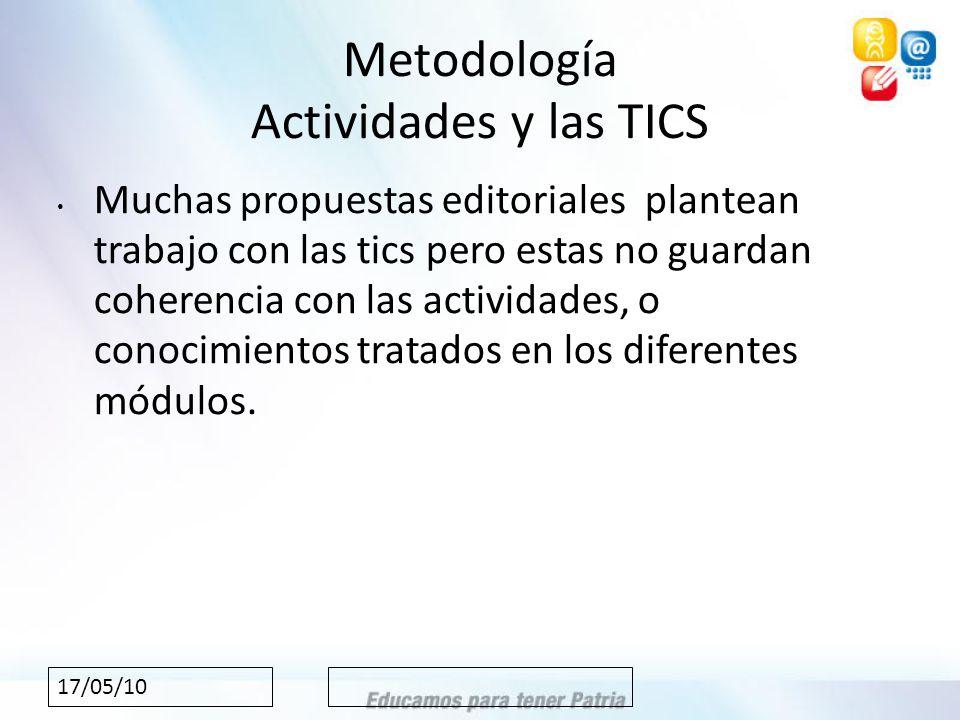 17/05/10 Metodología Actividades y las TICS Muchas propuestas editoriales plantean trabajo con las tics pero estas no guardan coherencia con las actividades, o conocimientos tratados en los diferentes módulos.