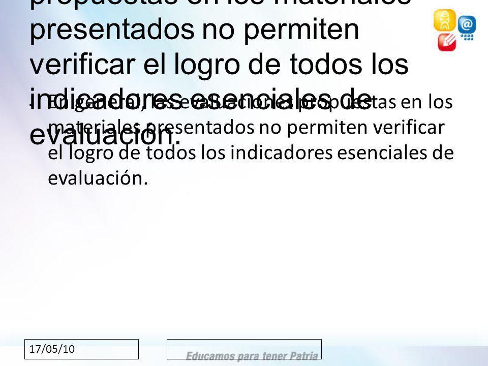 17/05/10 En general, las evaluaciones propuestas en los materiales presentados no permiten verificar el logro de todos los indicadores esenciales de evaluación.