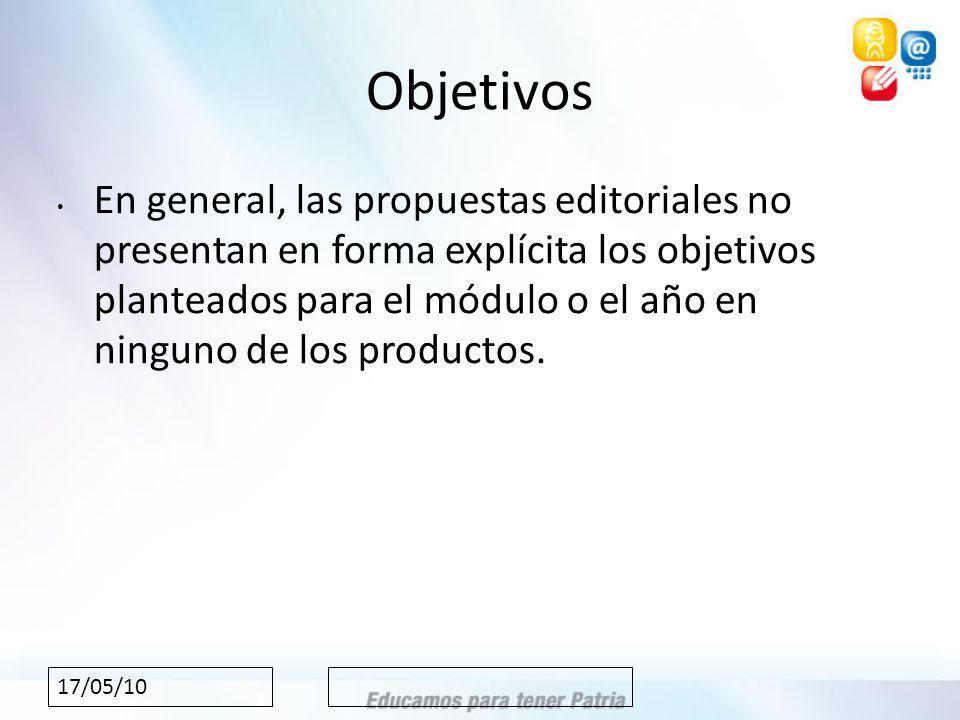 17/05/10 Objetivos En general, las propuestas editoriales no presentan en forma explícita los objetivos planteados para el módulo o el año en ninguno de los productos.