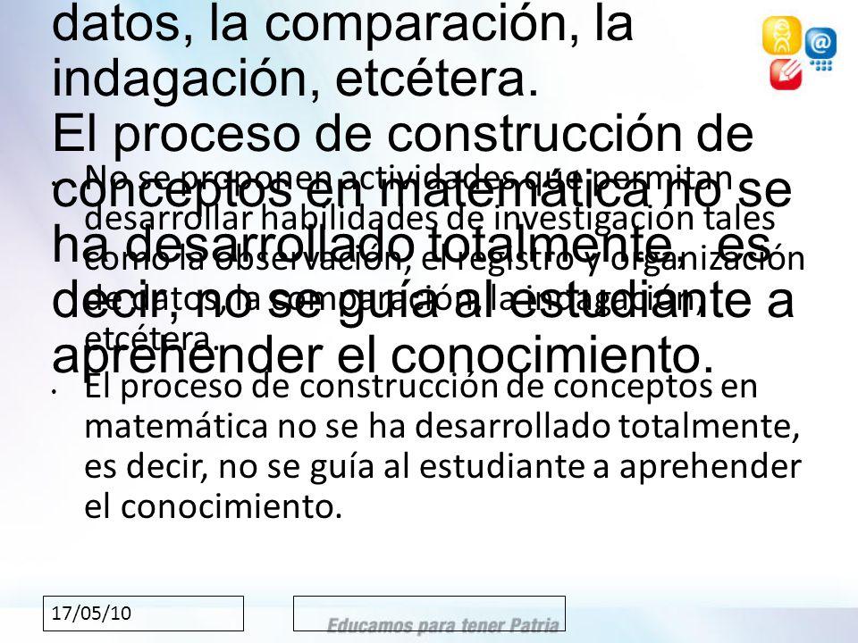 17/05/10 No se proponen actividades que permitan desarrollar habilidades de investigación tales como la observación, el registro y organización de datos, la comparación, la indagación, etcétera.