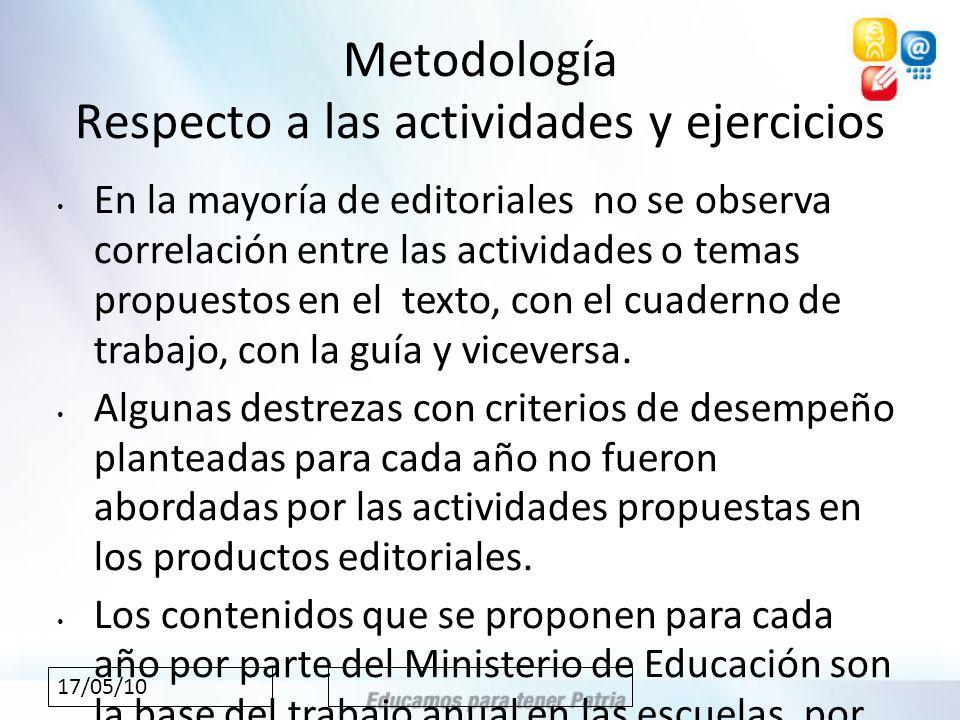17/05/10 Metodología Respecto a las actividades y ejercicios En la mayoría de editoriales no se observa correlación entre las actividades o temas propuestos en el texto, con el cuaderno de trabajo, con la guía y viceversa.