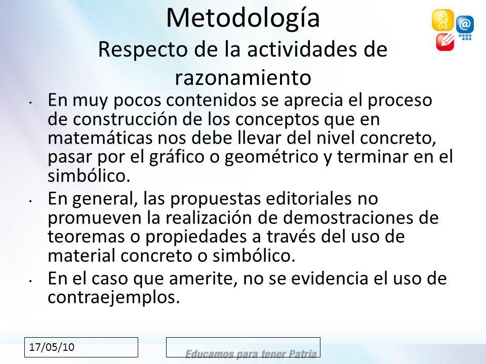17/05/10 Metodología Respecto de la actividades de razonamiento En muy pocos contenidos se aprecia el proceso de construcción de los conceptos que en matemáticas nos debe llevar del nivel concreto, pasar por el gráfico o geométrico y terminar en el simbólico.
